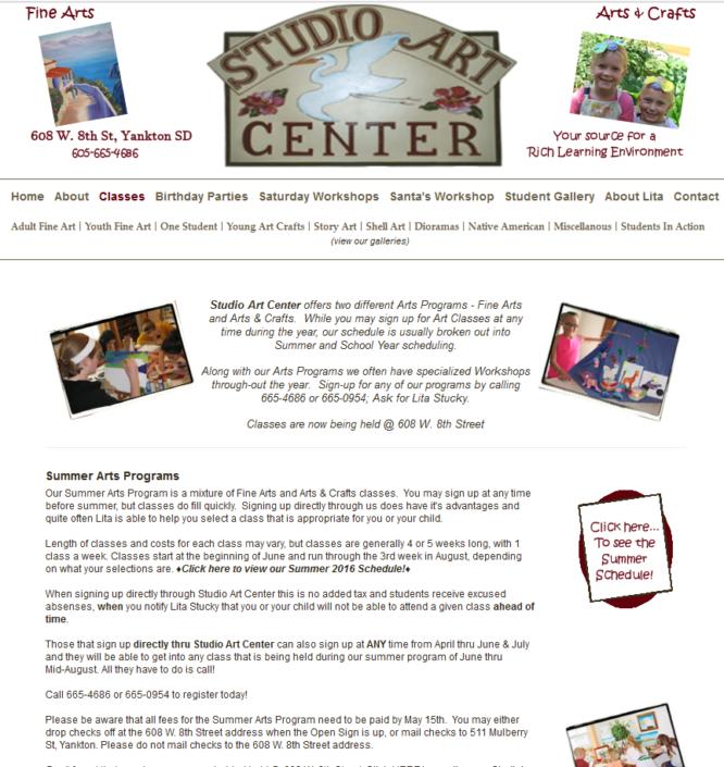 Studio Art Center Website
