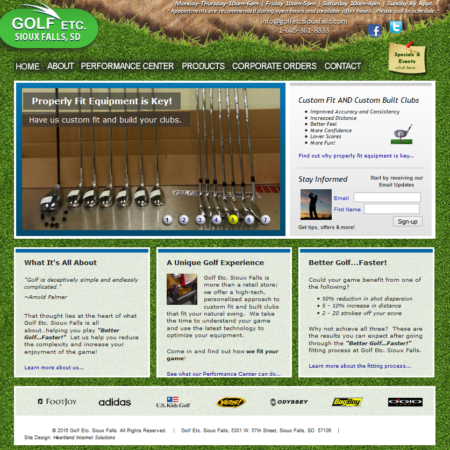 Golf Etc. Sioux Falls Website