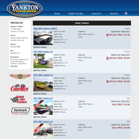 Yankton Trailers Website