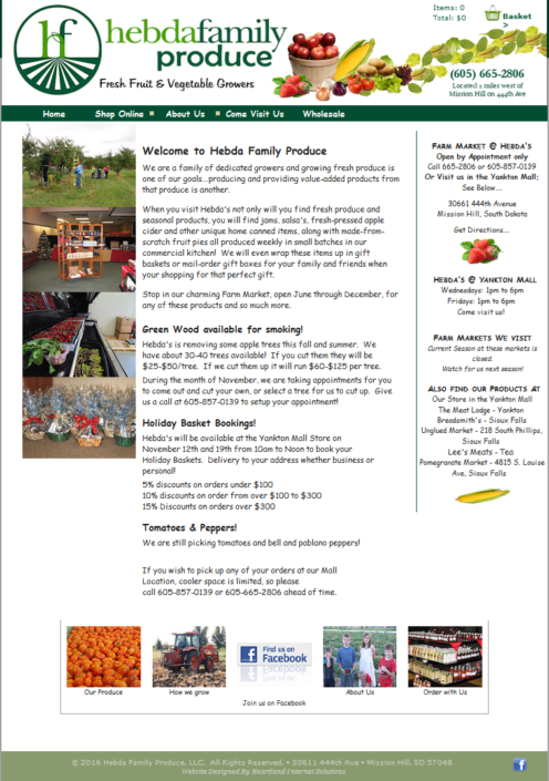 Hebda Family Produce Website